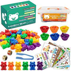 ZGWJ Counting Sorting Toys Rainbow Bears Learning Toys 60 Colored Bears with Matching Sorting Cups, Storage Container and Dice Math Toddler Games 84pc Set Educational Toys