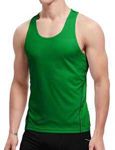 APRAW Men's 1 Pack Quick Dry Tank Tops Compression Muscle Shirts Training Compression Baselayer (Z(No Logo Pattern) 1piece:Green, Small)