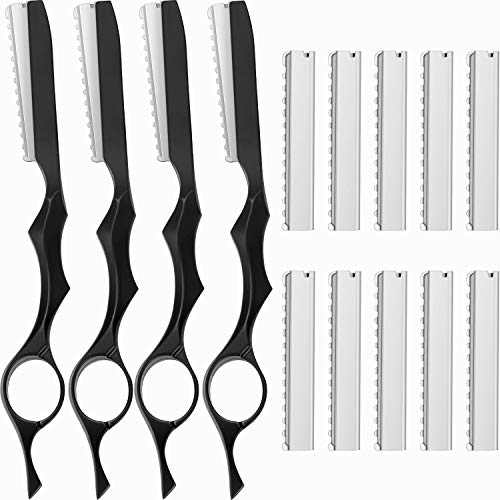 14 Pieces Hair Styling Thinning Razor Set, 4 Pieces Hair Styling Razor Hair Cutting Texturizing Razors and 10 Pieces Replacement Spare Blades Stainless Steel with Comb Blades (Black)