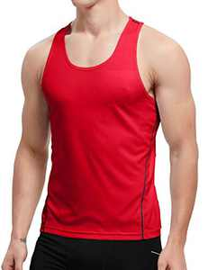 APRAW Men's 1 Pack Quick Dry Tank Tops Compression Muscle Shirts Training Compression Baselayer (Z(No Logo Pattern) 1piece:Red, XX-Large)