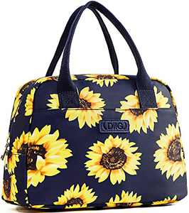 DIIG Lunch Box for Women, Insulated Lunch Bags for Women, Small Cooler Tote For Work, Floral Reusable Snack Bag with Pocket, Sunflower Printing/Gray/Black/White (Sunflower/Navy)
