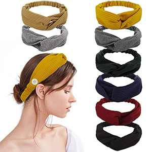 8 Pack Headbands for Women Button Headband for Nurses Doctors Twisted Criss Cross Head Wrap Elastic Hair Band