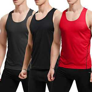 APRAW Men's 3 Pack Quick Dry Tank Tops Compression Muscle Shirts Training Compression Baselayer (Z(No Logo Pattern) 3Packs:Black/Grey/Red, Medium)