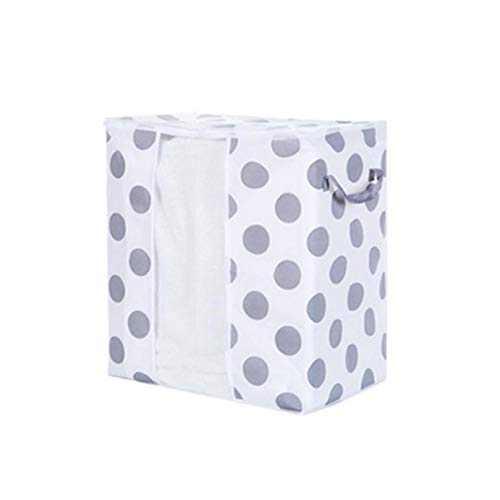 RINKOUa Durable Storage Bag Organizer, Foldable Dust-Proof Print Zipper Closure Clothes Blanket Quilt Closet Sweater Organizer Box Home (A-422750cm)