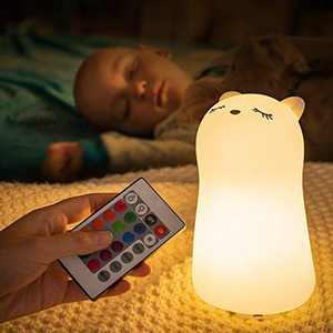 Cute Baby Night Light for Kids, 7 Colour Changing LED Cat Night Light, Portable Animal Cat Light, USB Chargeable Kitty Light, Childs Nightlight for Childrens Bedroom Decoration Kawaii Room Decor Gifts