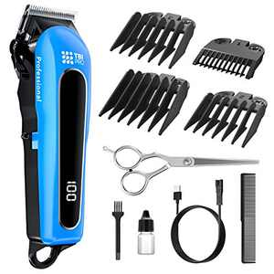 TBI Professional Cordless Hair Clipper & Beard Trimmer | +LED Display. Rechargeable Barbers Trimmers Set for Men with Accessories/Mens Professional Cutting Machine Clippers/Home Haircut Kit
