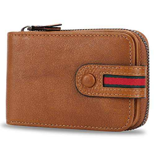 FEI STUDIO RFID Blocking Genuine Leather Credit Card Case Holder Security Travel Wallet (Brown)