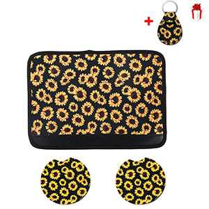 3PCS Sunflower Accessories for Car,Sunflower pattern center pad cover,2PCS Car Cup Holder Coaster and 1pcs gift Sunflower Keyring (Style 1)