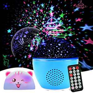 Night Light Projector, GEEHOOD Kids Star Projector Remote Timer lamp with Bluetooth Speaker, for Baby Bedroom, Birthday Gift, Christmas, 2 Films and 1 cat lampshade(Upgraded Version)