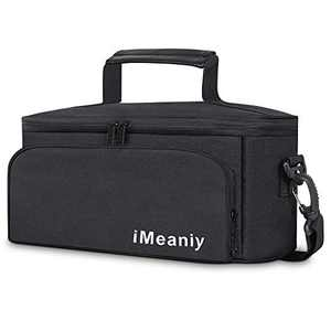 iMeaniy Lunch Bag for Men Women Kids Adults,Reusable Lunch Box Tote Bag with Adjustable Strap,Insulated Food Container with Dual Compartments for School Office Picnic Camping Outdoor,Black