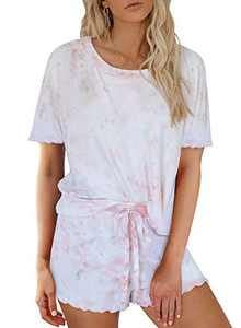 Elapsy Womens Ladies Tie Dye Print Lounger Set Short Sleeve Crewneck Pajamas Set Soft Top and Pants PJ Set Sleepwear Loungewear Pink Medium