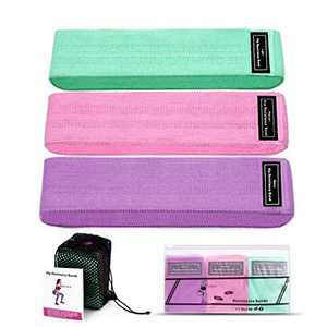Dezem Fabric Resistance Bands for Legs and Butt, Booty Bands, Elastic Exercise Bands for Women, Set of 3 (L76CMW8CM, 3PCS)