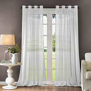 """LoyoLady White Sheer Curtains 96 Inch Length 2 Panels Grommet Top Curtains for Kids Bedroom 52"""" W x 96"""" L"""