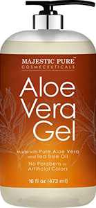 Aloe Vera Gel with Tea Tree Essential Oil by Majestic Pure- Pure Aloe Vera Gel Moisturizes and Nourishes Skin - Soothes Sunburn, Bites, Rashes, Small Cuts & Eczema - (Packaging May Vary) - 16 fl oz
