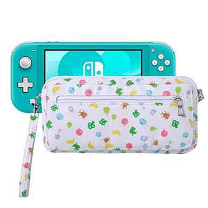 Lamyba Carrying Case for Nintendo Switch Lite with Game Card Slots and Shoulder Strap,Inspired by Animal Crossing New Horizons,Island Pattern