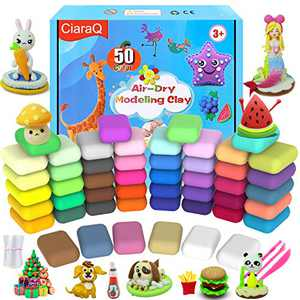 Modeling Clay Kit - 50 Colors Air Dry Magic Clay, Soft & Ultra Light DIY Molding Clay with Sculpting Tools. Foam Clay for Kids Art Crafts Gift for Easter Basket Stuffer