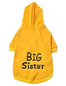 Coomour Pet Dog Funny Big Sister Hoodies Cat Puppy Puppy Cute Cotton Clothes for Dogs Cats Outfit (Small)