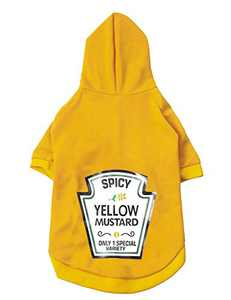 Coomour Pet Dog Funny Yellow Mustard Hoodies Cat Puppy Puppy Cute Cotton Clothes for Dogs Cats Outfit (Small)