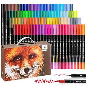 Mancola Art Markers Dual Tips Coloring Brush Fineliner Color Pens, 100 Colors of Water Based Marker for Calligraphy Drawing Sketching Coloring Book Bullet Journal Art for Adult Lettering Writing