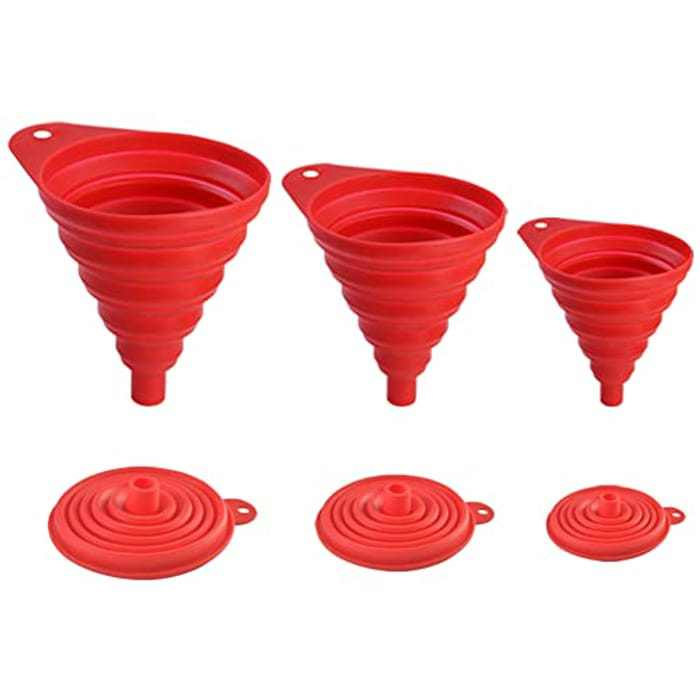 Snowyee Funnels for Filling Bottles, Collapsible Wide Mouth Water Bottle Kitchen Silicone Funnel (3 in 1 Set/Red)