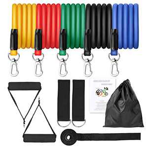 CDCASA Portable Exercise Resistance Band Set Stackable Up to 100Lbs, 5 Bands with Door Anchor, Ankle Straps & Carrying Case, Great for Home Workouts, Physical Therapy, Gym Training, Yoga