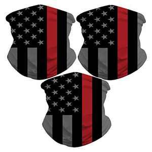 Sibosen 3 Pack American Flag Neck Gaiter Face Cover Scarf Breathable Gator Mask Cooling Bandana, Black/Red