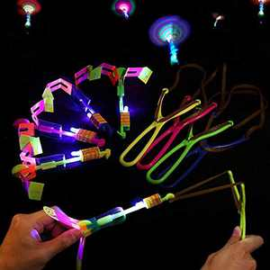 15pcs Amazing Led Light Arrow Rocket Helicopter Flying Toy Party Fun Gift Elastic