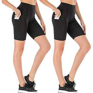 yeuG High Waist Out Pocket Yoga Short Tummy Control Workout Running Athletic Non See-Through Yoga Shorts (Black2, X-Large)