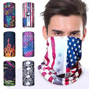 Candygirl 6PCS Neck Gaiter Sun UV Protection Face Mask Scarf Magic Headband Face Cover Bandana for Workout Yoga Hiking Cycling