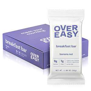 OVER EASY Breakfast Bars | All Natural, Clean Ingredient, 9-10g Protein & 6-7g Fiber Breakfast Bars | Gluten Free, Dairy Free (Banana Nut, 9 Count (Pack of 1))