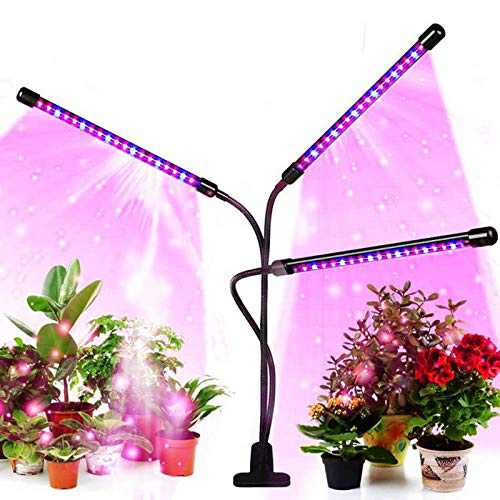 Led Grow Light for Indoor Plants and Potted Plants 3 Heads Timing Planting Lights (3/9/12 Hour Timer) Full Spectrum, 5 Switching Modes and 3 Spectral Modes