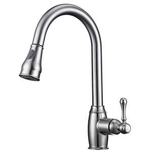 HOXIYA One-Handle High Arc Pull Down Kitchen Faucet with Pull Down Sprayer,Single-Handle Stainless Steel Kitchen Sink Faucet, Faucets for Kitchen Sinks ( Brushed Nickel B )