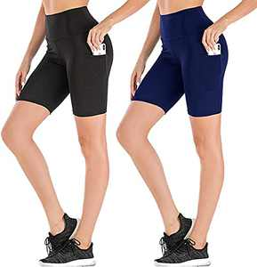 High Waist Workout Biker Shorts for Women-Dual Pockets Tummy Control Yoga Gym Running Pants,Non See-Through Soft Leggings (1# Black,Blue,2 Pack, Medium)