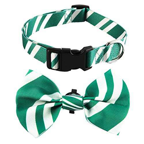Coomour 2 Pack Bowtie Dog Collar Pet Striped Cute Adjustable Collars with Tie for Small to Large Pets Dogs Cats (Large,Green)