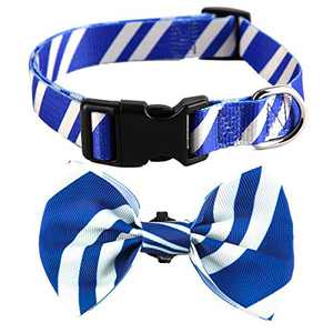 Coomour 2 Pack Bowtie Dog Collar Pet Striped Cute Adjustable Collars with Tie for Small to Large Pets Dogs Cats (Large,Blue)
