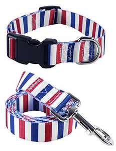 Impoosy 2PCS Cat Dog 4th of July Collar and Leash Set Pet Gift Adjustable Dogs Stripe Collars for Small to Large Pets (Medium)