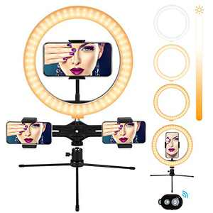 "Ring Light with Tripod Stand, 10"" Selfie Ring Light with 3 Phone Holders, Light Ring for Video Recording/TikTok/YouTube/Makeup/Photography, Ring Lights Compatible with iPhone/Android (2020 Upgrade)"