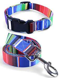 Impoosy 2PCS Cat Dog Collar and Rainbow Leash Set Pet Gift Adjustable Dogs Stripe Collars for Small to Large Pets (X-Large)