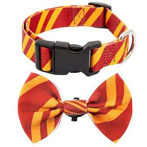 Coomour 2 Pack Bowtie Dog Collar Pet Striped Cute Adjustable Collars with Tie for Small to Large Pets Dogs Cats (X-Large,Red)