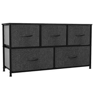 YITAHOME Wide Storage Tower with 5 Drawers - Fabric Dresser, Organizer Unit for Bedroom, Living Room, Closets & Nursery - Sturdy Steel Frame, Easy Pull Fabric Bins & Wooden Top (Black/ Grey)