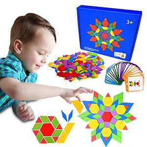 JIAHCN 155 Pcs Wooden Pattern Blocks Set Animals Jigsaw Shape Fun Puzzle for Hours Geometry Puzzles Kids Ages 4-8 Early Montessori Learning Games Toys Toddlers Stem Activities with 24 Designed Cards