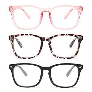 Gaoye 3-Pack Blue Light Blocking Glasses, Fashion Square Fake Nerd Eyewear Anti UV Ray Computer Gaming Eyeglasses Women/Men (Matte Black+Leopard+Pink)