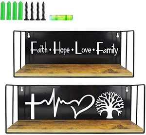 Schliersee Family Tree Floating Shelves Wall Mounted Storage Wall Shelf for Living Room, Bathroom, Kitchen, Bedroom, Faith Hope Love Theme, 2 Pack