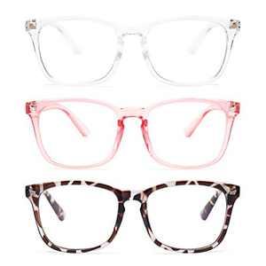 Gaoye 3-Pack Blue Light Blocking Glasses, Fashion Square Fake Nerd Eyewear Anti UV Ray Computer Gaming Eyeglasses Women/Men (Leopard+Transparent+Pink)