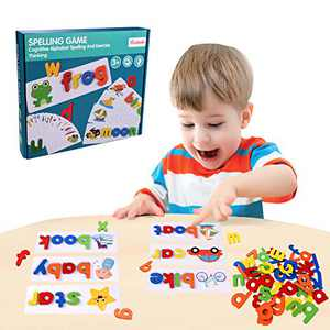 JIAHCN See and Spell Educational Toys for Toddlers, Montessori Sight Word Learning Games for Kids 3-5 Preschoolers Wooden Matching Alphabet Blocks Stem Activities 52 Letters 28 Pattern Flashcards