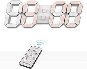 EDUPLINK 3D LED Digital Desktop Alarm Clock 9.7 Inch Remote Control Timer Brightness Adjustable Needed Plugged in Includes Power line Does not Include Power Head Warm White
