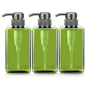 Green Pump Containers for Shampoo, Suream 3 Packs 15.8oz/450ml Plastic Refillable Square Soap Dispensers for Essential Oil Soap Lotion, Great Bottles for Bathroom and Kitchen Counter Use
