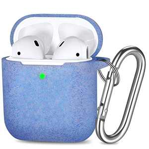 GEAK Bling AirPods Case Cover, Silicone Protective Case Cover Compatible for Apple AirPods 2 & 1, Glitter Blue