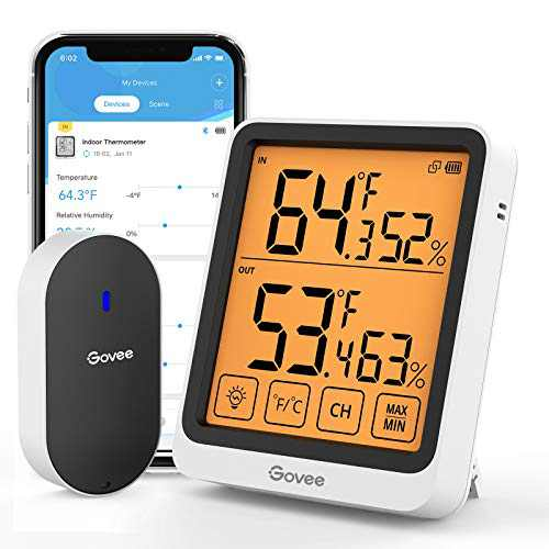 Govee Indoor Outdoor Thermometer, Bluetooth Temperature and Humidity Sensor with App Notifications, 4.5-Inch Large LCD Touchscreen with Backlight, 2-Year Data Storage