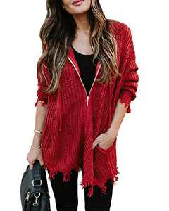 Chang Yun Women's Distressed Sweaters Hooded Ripped Open Front Cardigan Zipper Long Sleeve Chunky Knit Pullover Tops Wine Red
